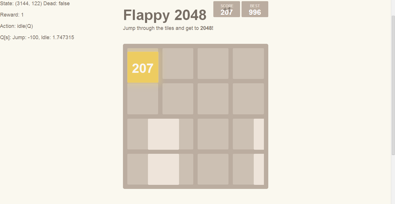 Beat flappy 2048 with Q Learning